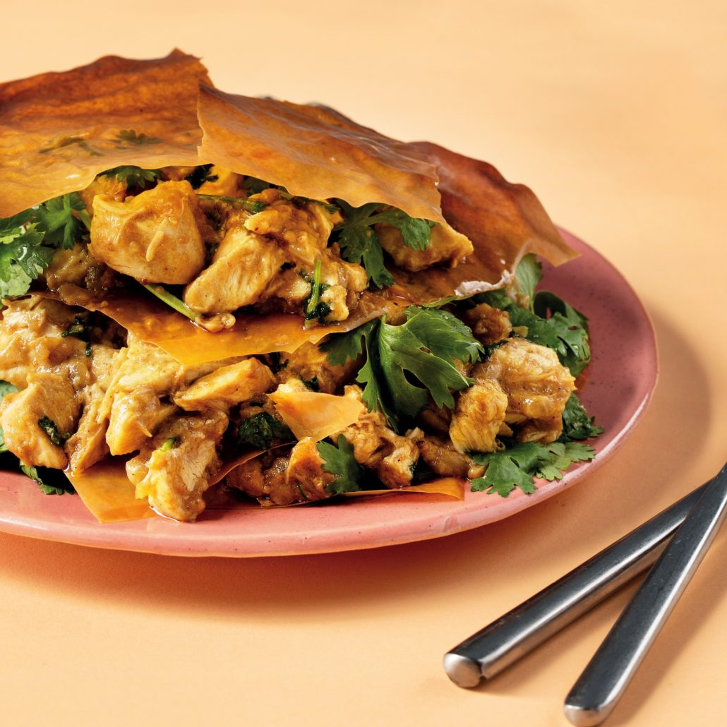 Deconstructed chicken pies with peanut butter