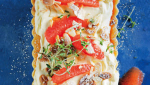 Grapefruit, thyme and mascarpone tart