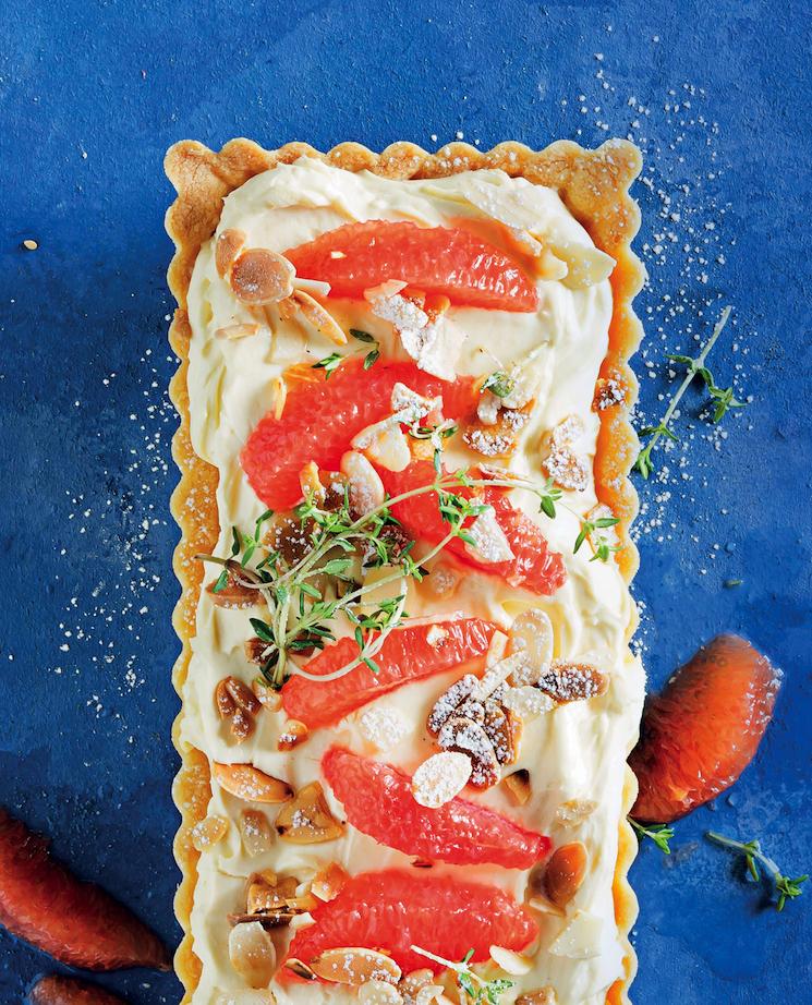 Grapefruit, thyme and mascarpone tart