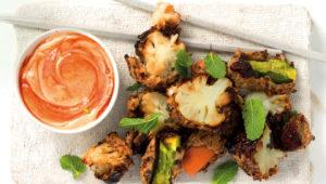 Rye and honey-crusted veggies with sriracha mayo