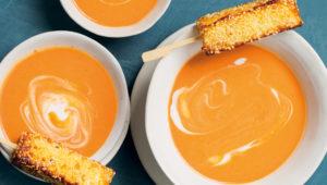 Tomato soup with halloumi sticks