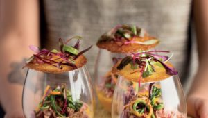 Roast vegetabel and ginger snap cups
