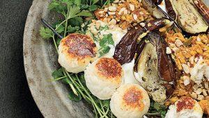 Grilled paneer and brinjals