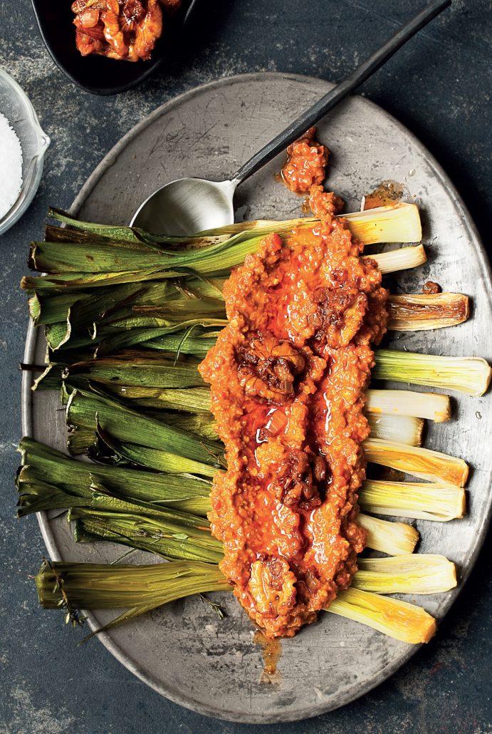 Leeks with Romesco sauce