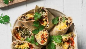 Breakfast bean burritos