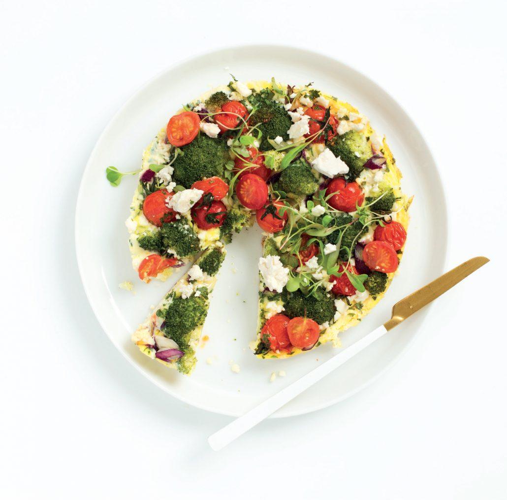 Broccoli and feta crustless quiche