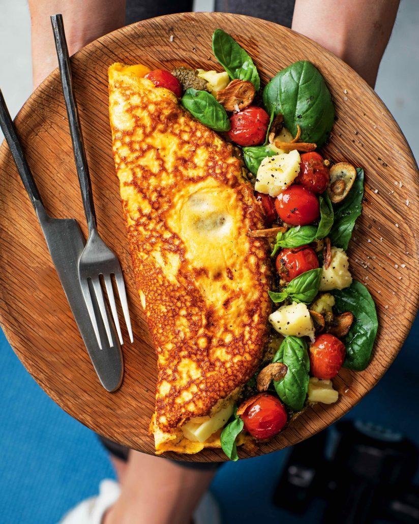 Caprese salad omelette