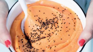 Pawpaw and sesame seed sorbet