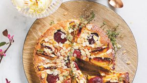 Peach, plum and apricot almond tart