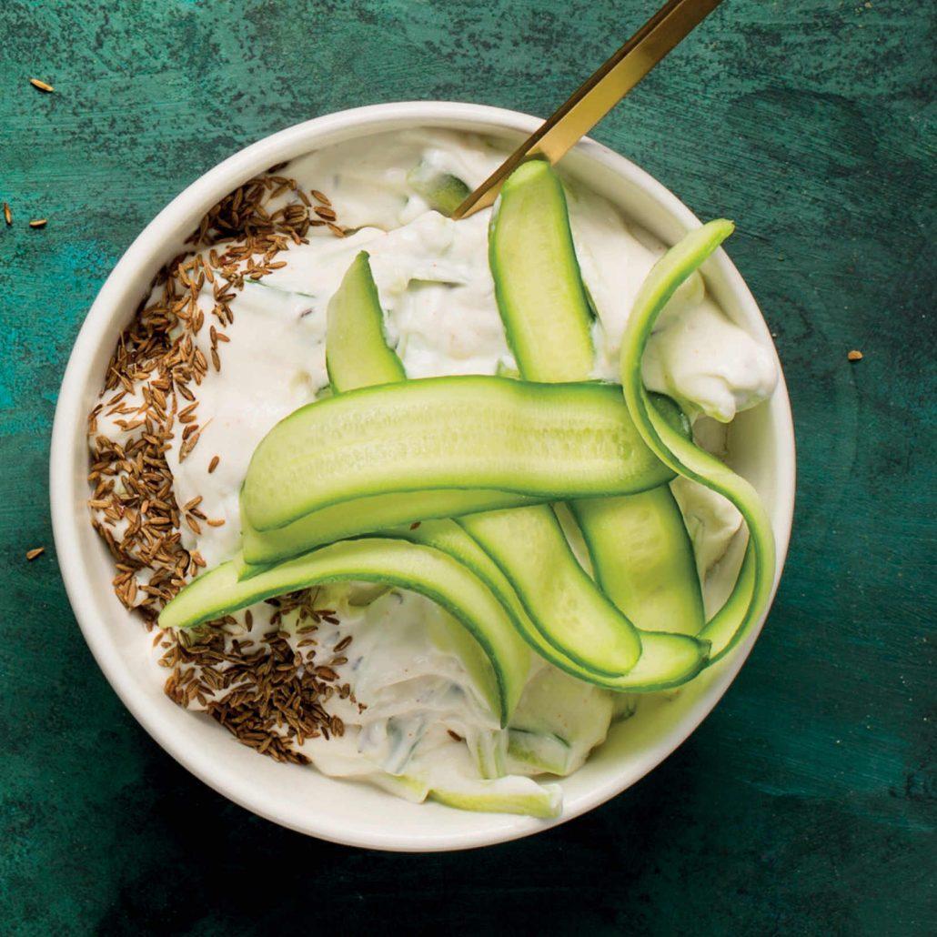 Roast-garlic and cucumber raita