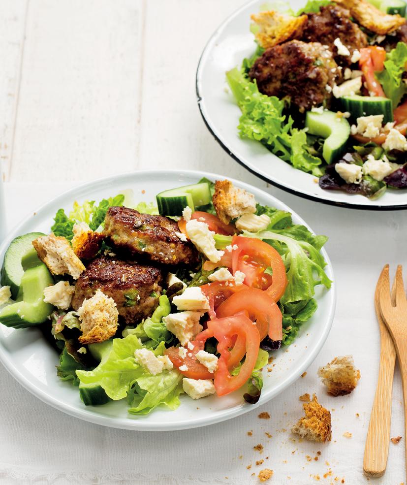 Traditional garden salad with boerewors patties