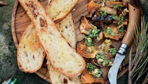 Charred mushrooms with crostini and walnut gremolata