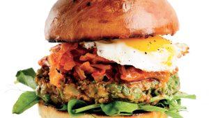 Green vegetarian burgers
