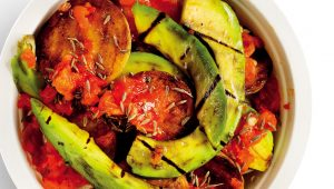 Grilled avo, baby potato and harissa salad