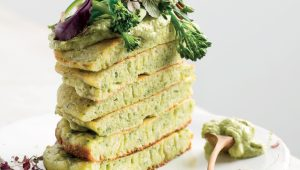 Japanese pancakes and pea hummus stack