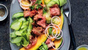 Spanspek and paprika steak salad