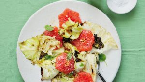 Grapefruit and charred cabbage salad