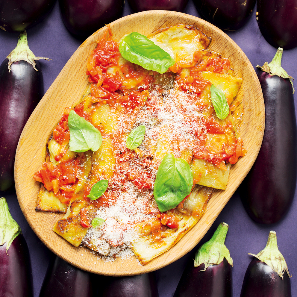 Pan-fried brinjal slices with tomato sauce
