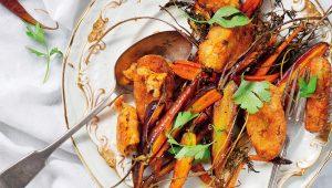 Roast carrots and lentil koftas