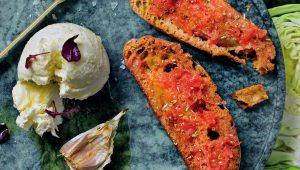 Roast-garlic oil and tomato bread with Mozzarella