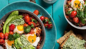 Mint pesto baked eggs