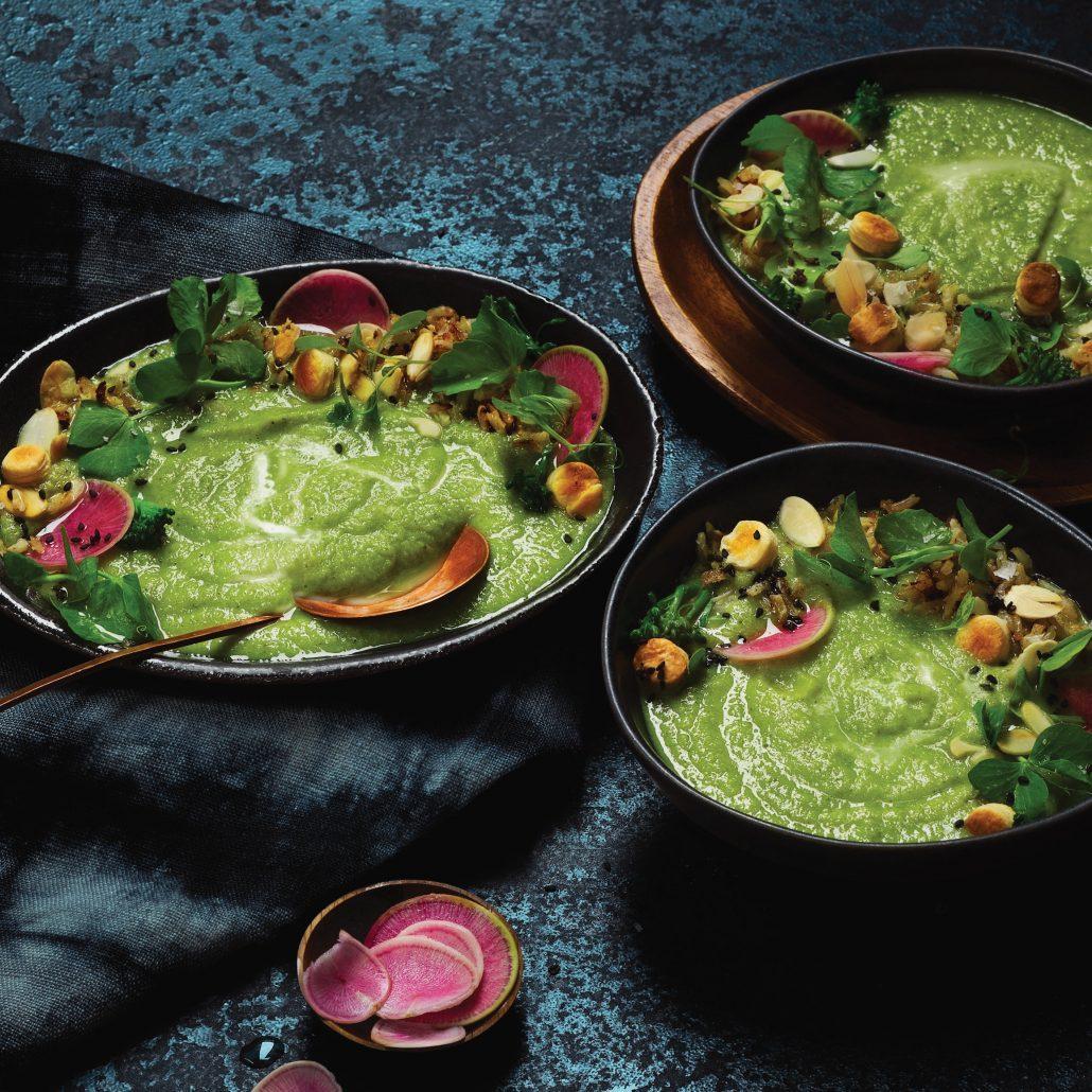 Pea, broccoli and baby marrow soup