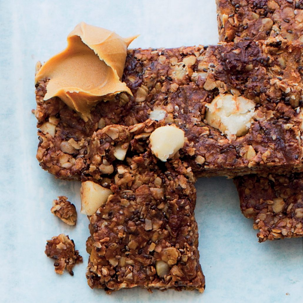 Chocolate, chia and peanut butter bars