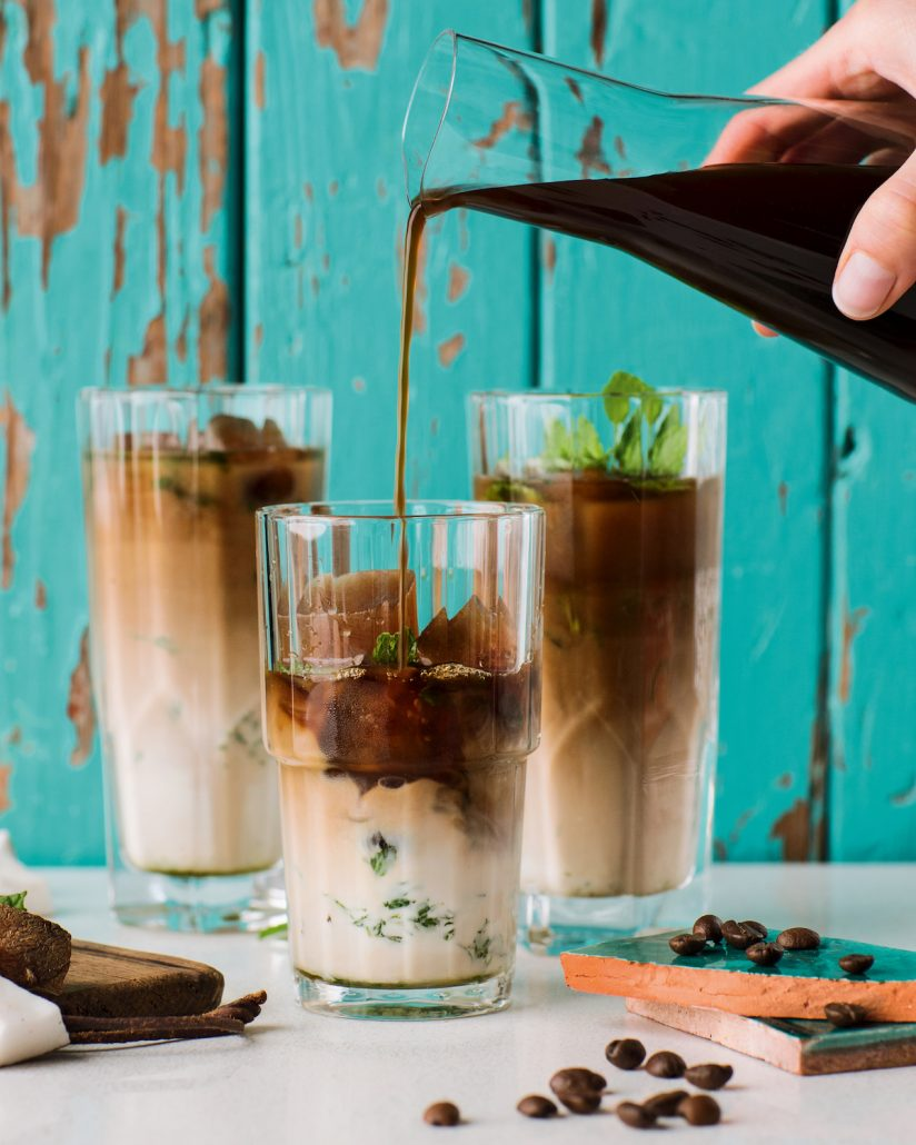 Coconut and mint iced coffee