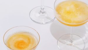 Fig, peach and honey sparkling cocktails