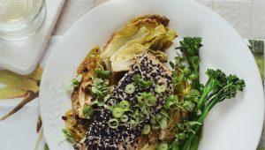 Sesame-crusted dorado