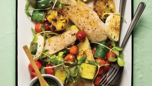 Baked fish with vegetables and feta