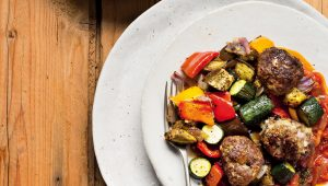 Mediterranean meatballs in tomoto sauce with veggies