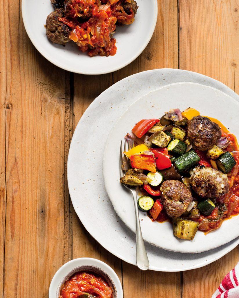 Mediterranean meatballs in tomoto sauce with veggies