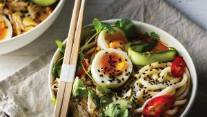 Spicy coconut chicken noodle soup