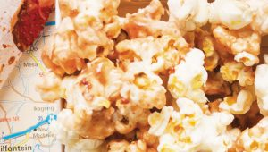 White chocolate and strawberry popcorn