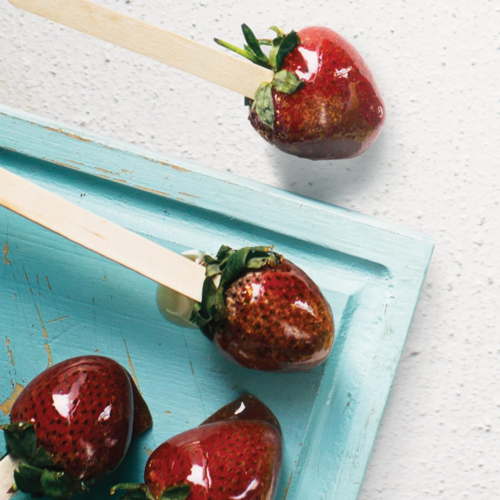 Toffee-coated strawberries