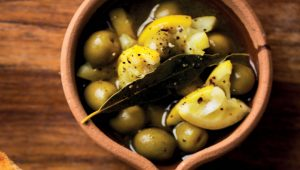 Zesty marinated green olives