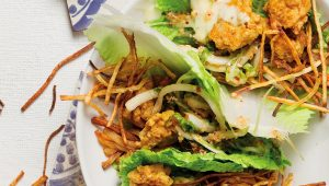 Chickpea fritter and kimchi cabbage wraps