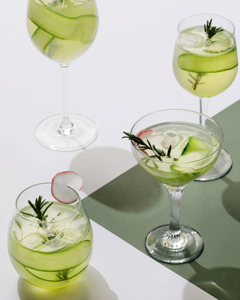 Cucumber and rosemary spritzers