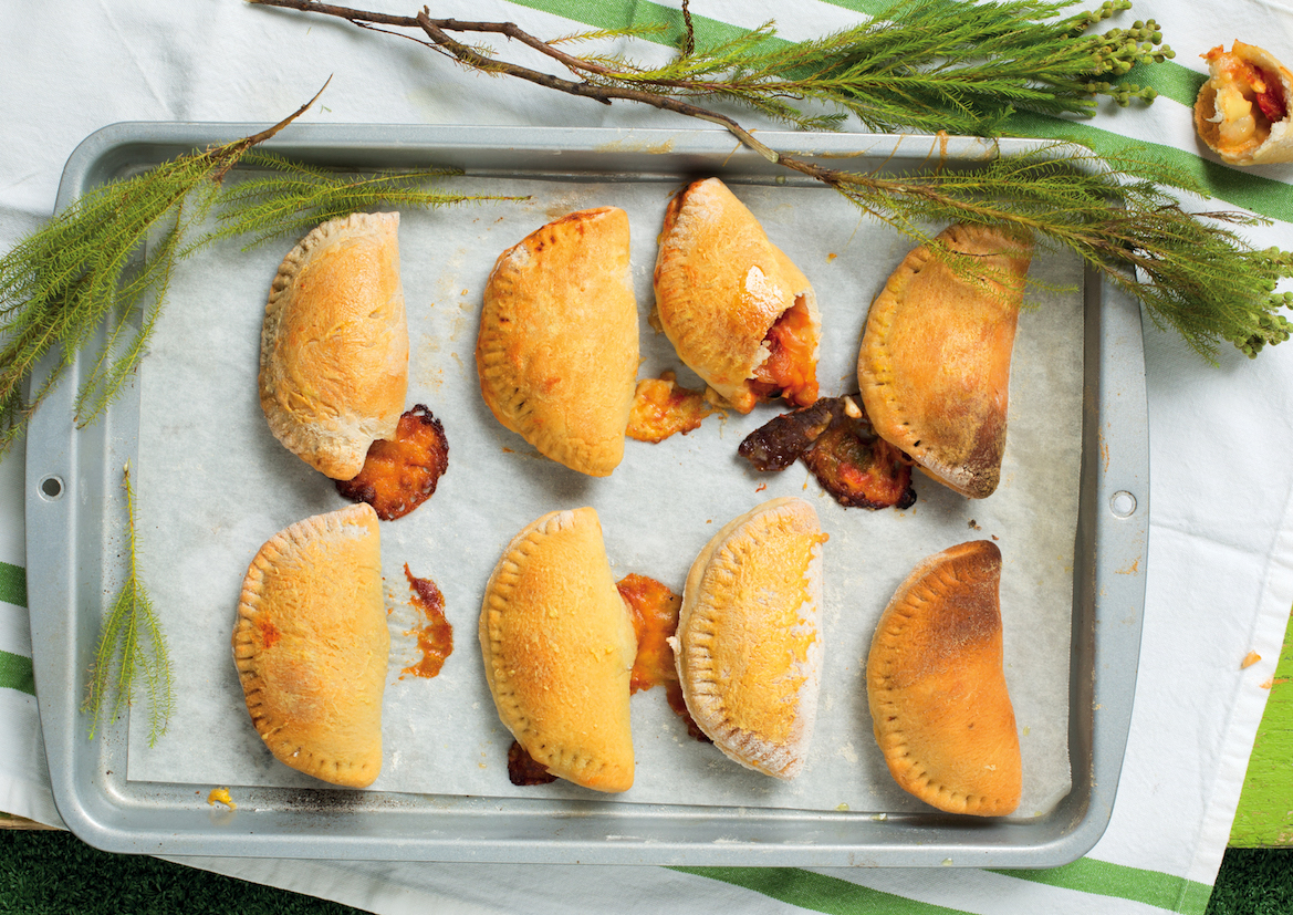 Biltong and roast pepper calzones