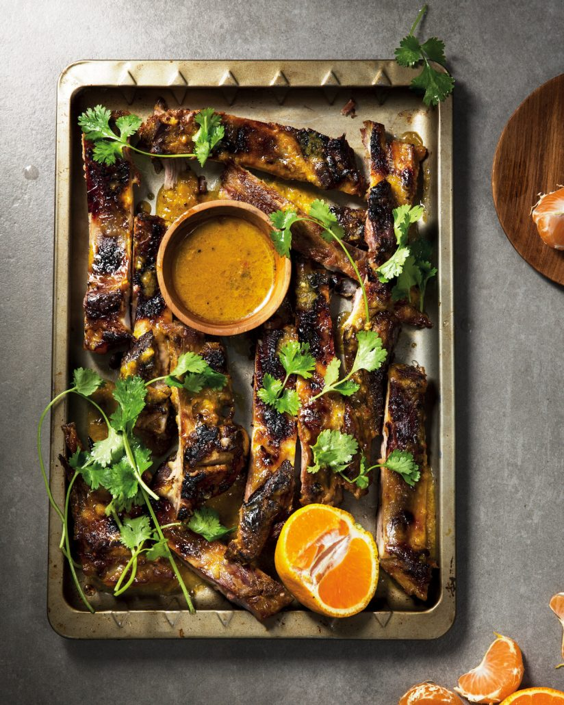Naartjie and ginger glazed ribs