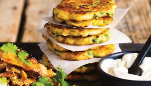 Spicy chicken with pea patties
