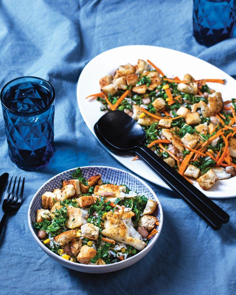 Rice, fish and bean salad