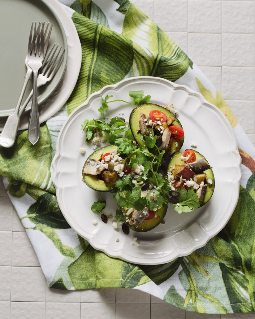 Sweet potato and sardine-stuffed avocados