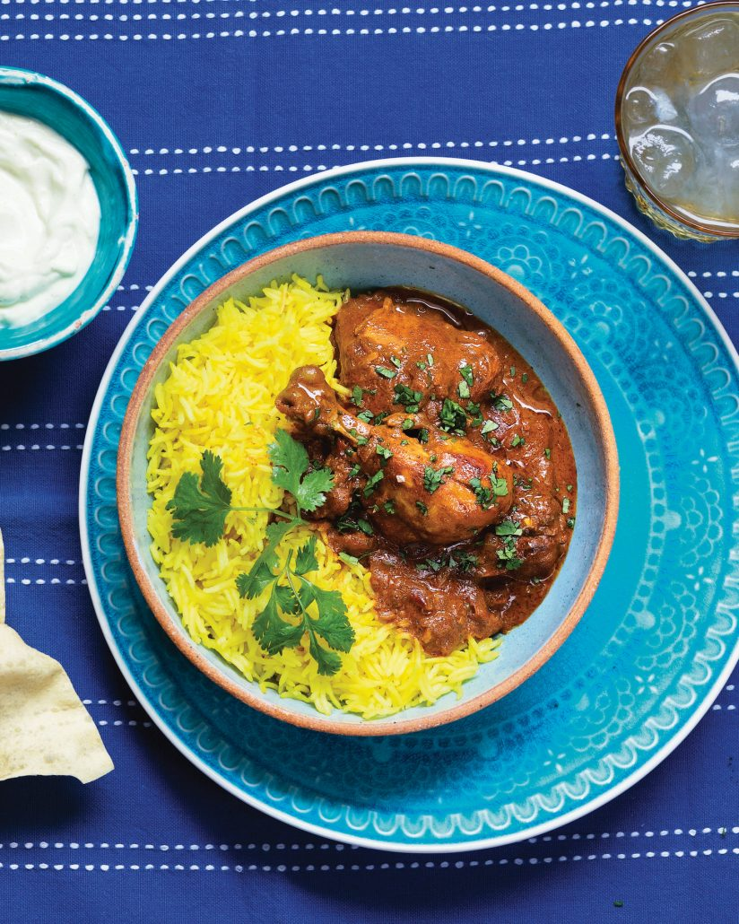 Chicken curry with masala curried yoghurt