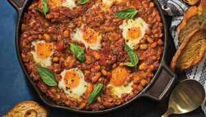 Spicy baked beans and eggs