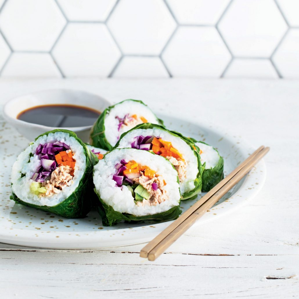 Tuna and veggie sushi