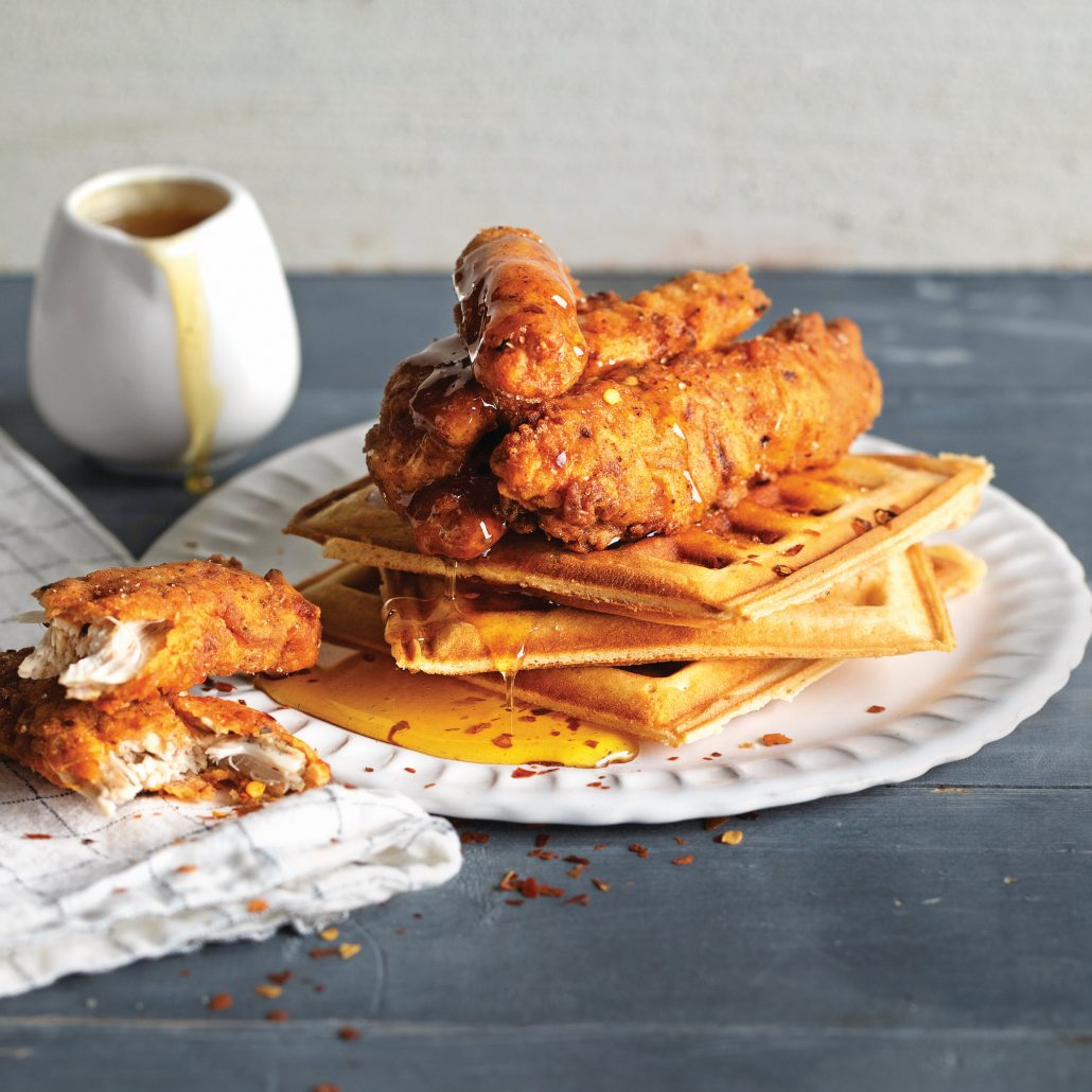 Fried chicken and waffles with salted syrup