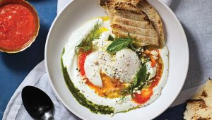 Greek poached eggs