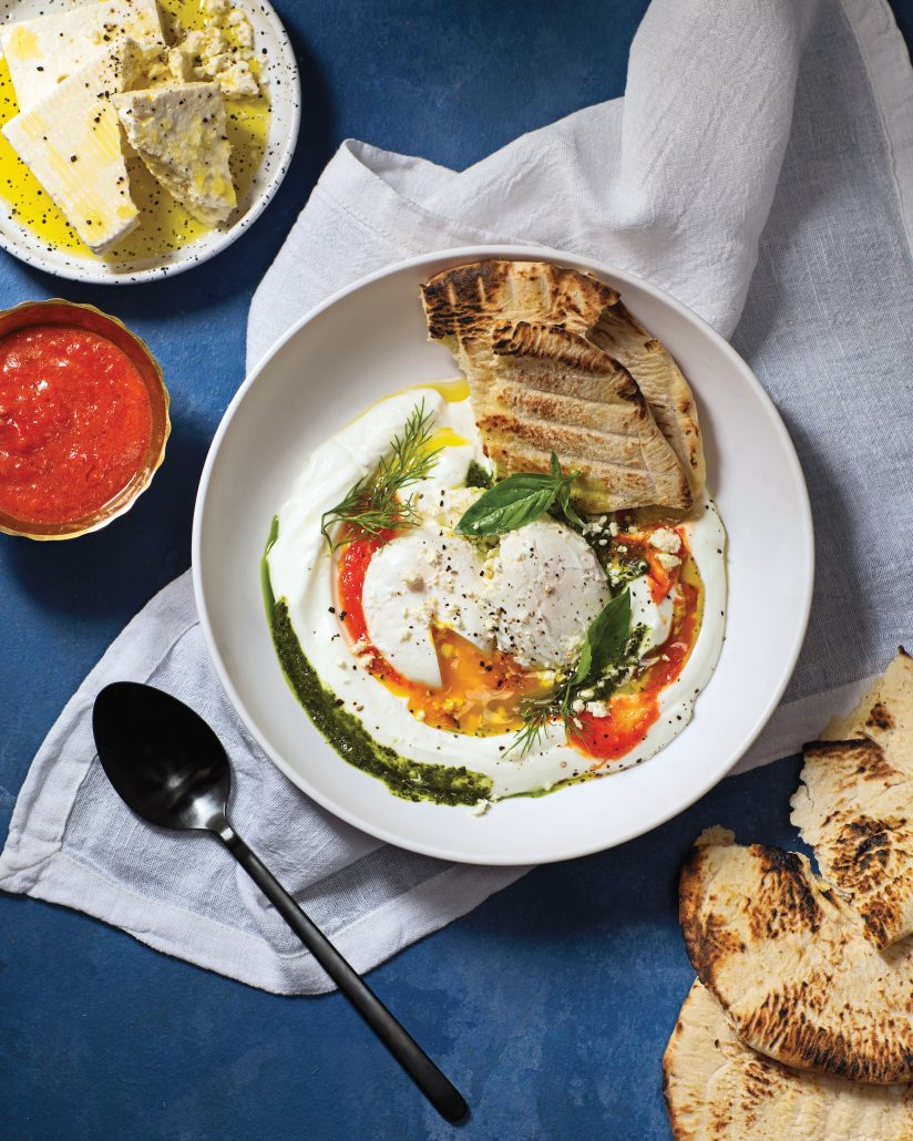 Greek poached eggs